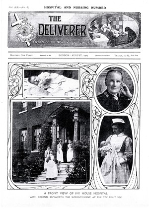 Photo:A front view of Ivy House Hospital with Colonel Sapsworth, the Superintendent, at the top right side, 1909.